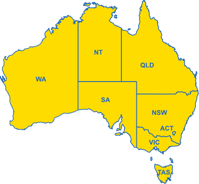 Map of Australian Cheap Car Hire Locations